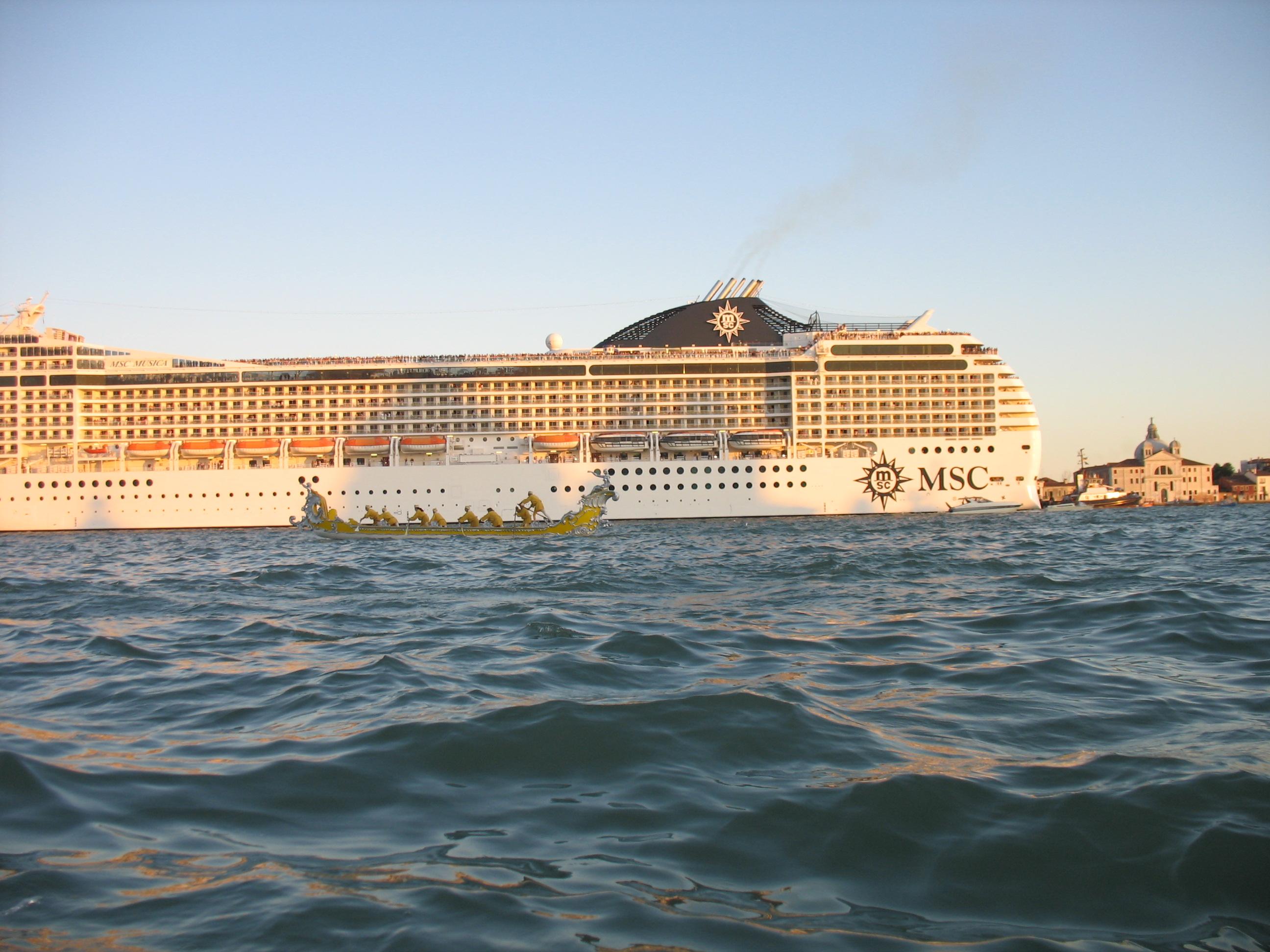 Cruise ship at anchor Venice