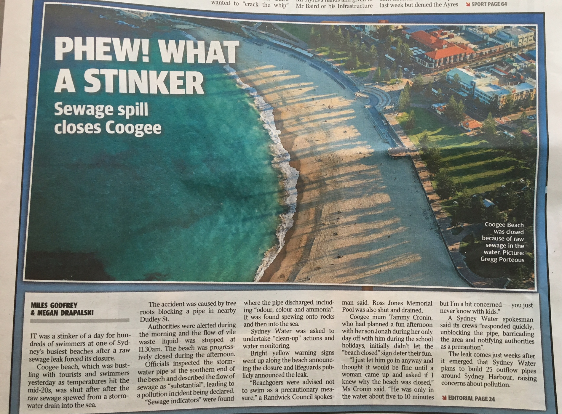 2016 04 14 Cooge sewer spill Daily Telegraph article