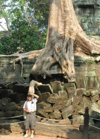 Joe at Angkor Wat Beware of tree roots!